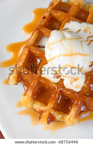 Tasty waffle and ice cream with cream - stock photo