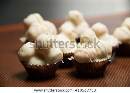 tasty white chocolate macadamia nut  against  background. - stock photo