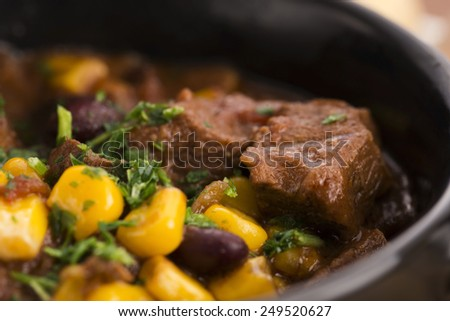 Tasty winter traditional hot pot stew with meat and vegetables  - stock photo
