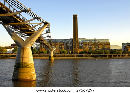 Tate Modern and The River Thames - stock photo