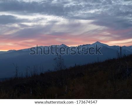 Tatra Mountains at sunset - stock photo