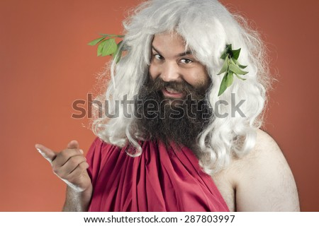 Tattling god zeus or jupiter doesn't know who to blame - stock photo