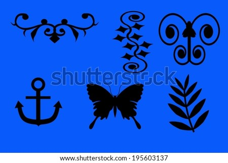 Tattoo drawings against a blue background - stock photo
