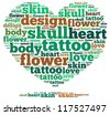 Tattoo info-text graphics and arrangement concept on white background (word cloud) - stock photo