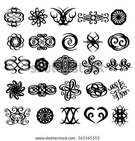 Tattoos set. Abstract design logo. Logotype art - raster version - stock photo