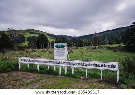 Taumatawhakatangihangakoauauotamateapokaiwhenuakitanatahu, the longest place name there is - stock photo