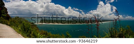 Tauranga, New Zealand. View from Maunganui Mountain. - stock photo