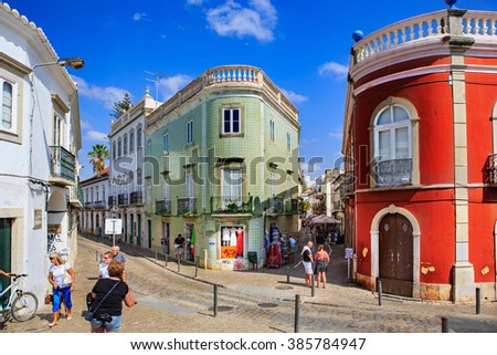 TAVIRA, ALGARVE, PORTUGAL - CIRCA SEPTEMBER, 2015: The streets of Tavira town on the Algarve in southern Portugal - stock photo