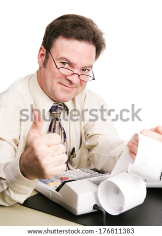 Tax accountant with his calculator, giving a thumbs up sign and smiling.  White background.   - stock photo