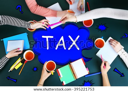 Tax concept. Creative team for work flow on blackboard background top view - stock photo