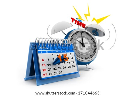 Tax day calendar with alarm - stock photo