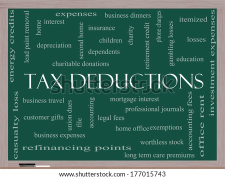 Tax Deductions Word Cloud Concept on a Blackboard with great terms such as mortgage, dependents, fees and more. - stock photo