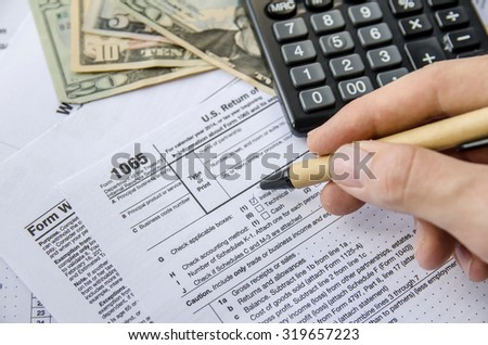 Tax forms 1065 - stock photo