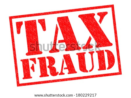 TAX FRAUD red Rubber Stamp over a white background. - stock photo
