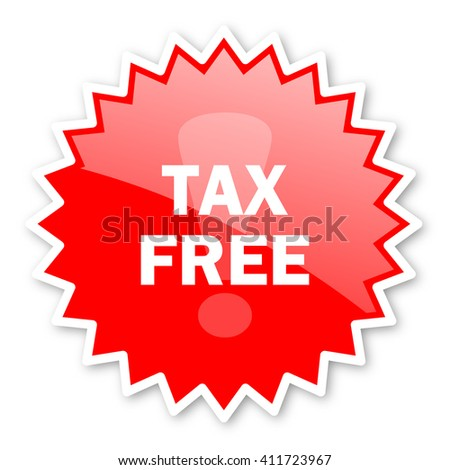 tax free red tag, sticker, label, star, stamp, banner, advertising, badge, emblem, web icon - stock photo
