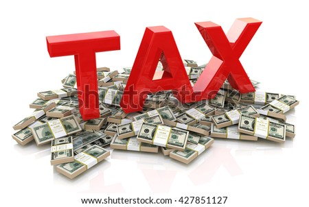 Tax on dollar currency in the design of information related to business. 3d illustration - stock photo