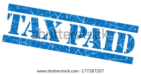 Tax paid blue grunge stamp - stock photo