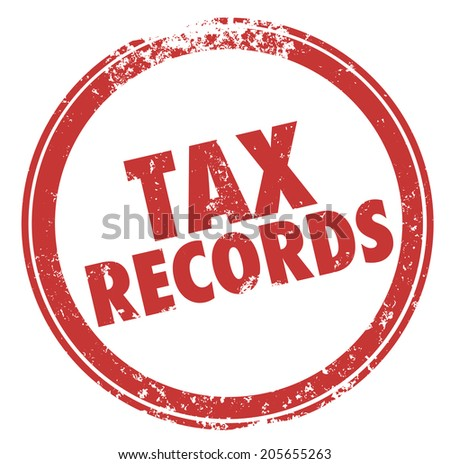 Tax Records words in a round red ink stamp keep files in case of an audit of your finances - stock photo