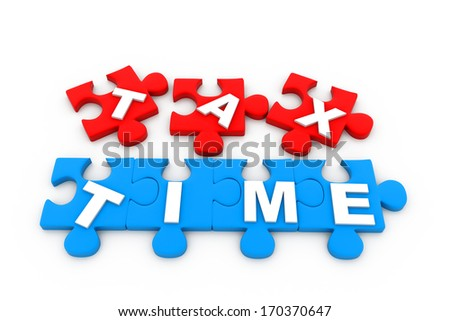 Tax time.(puzzle concept) - stock photo