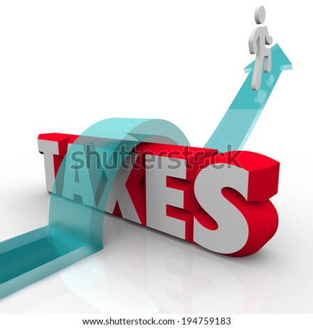Taxes word 3d letters man arrow jumping over avoid paying money owed government - stock photo