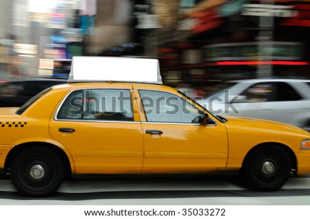 Taxi billboard in Times Square, New York City. - stock photo