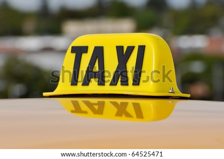 Taxi Cab Car Roof Sign Close Up - stock photo
