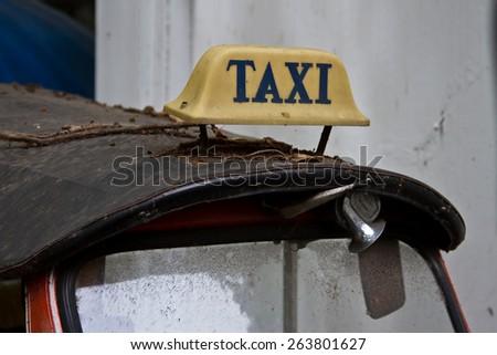 Taxi car in thailand - selective focus - stock photo