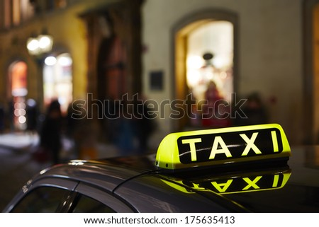 Taxi car on the street in Prague. - stock photo