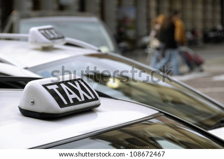 Taxi car roof detail - stock photo