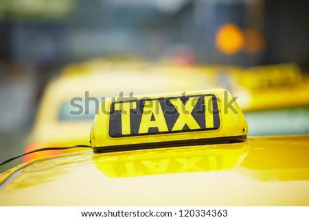 Taxi cars - selective focus - stock photo
