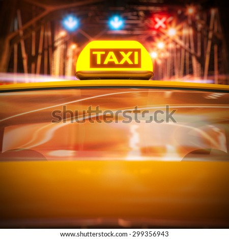 Taxi in rush traffic at night 3d rendering. - stock photo