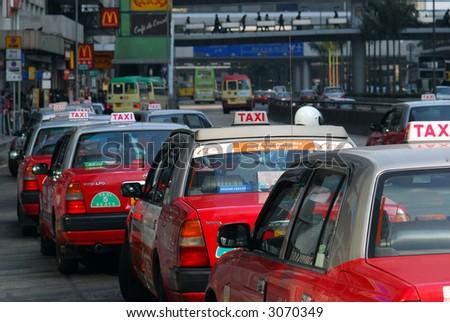 Taxi rank, Hongkong - stock photo