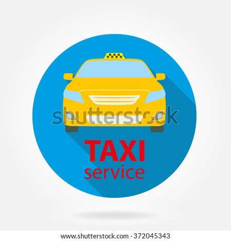 Taxi service flat icon on white background. Taxi car or vehicle. - stock photo