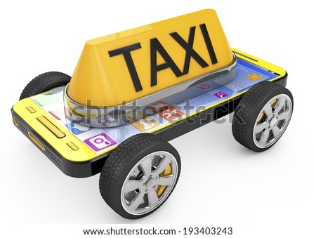 Taxi sign and Smartphone on wheels, metaphor of taxi. 3d image - stock photo