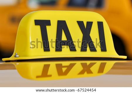 Taxi Sign Close Up - stock photo