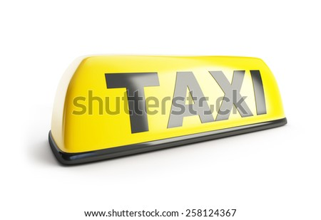 Taxi sign 3d on white background - stock photo