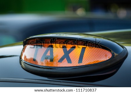Taxi sign in Scotland - stock photo
