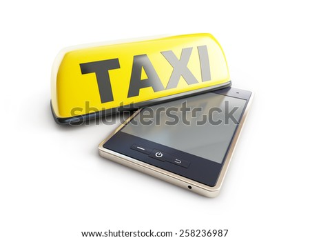 Taxi sign mobile phone on a white background - stock photo