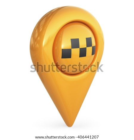 taxi target map pointer. GPS locate symbol; 3D icon isolated - stock photo