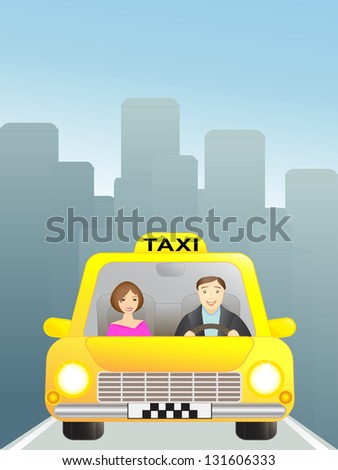 taxi with woman passenger in the big city - stock photo