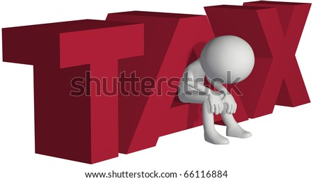 Taxpayer ruined bankrupt by high taxes sits in the word TAX - stock photo