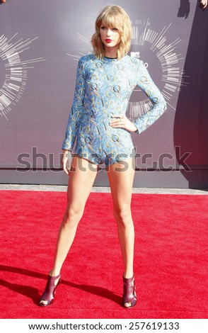 Taylor Swift at the 2014 MTV Video Music Awards held at the Forum in Los Angeles on August 24, 2014 in Los Angeles, California. - stock photo
