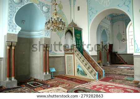 TBILISI - JULY 3: The interior of the Jumah mosque in Tbilisi that serves the Shiite and the Sunnite Muslims. On July 3, 2006 in Tbilisi, Georgia - stock photo
