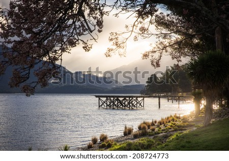 Te Anau Lake New Zealand - stock photo