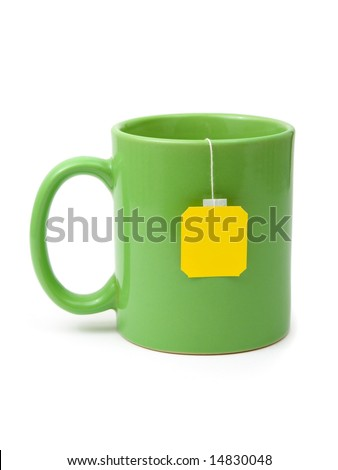 Tea bag in cup isolated on white background - stock photo