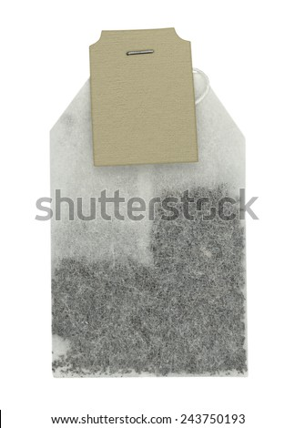 Tea bag isolated on white background. Clipping path included. - stock photo