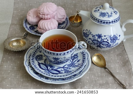 Tea break with white-blue porcelain. - stock photo