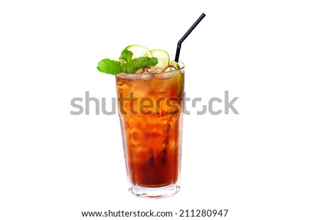 tea cocktail with lemon and ice on a white background - stock photo