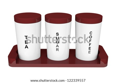 Tea, coffee and sugar cannisters with wooden holder on a white background - stock photo