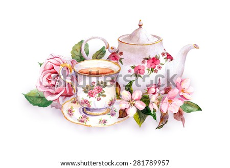 Tea cup and tea pot with flowers. Vintage card. Watercolor - stock photo